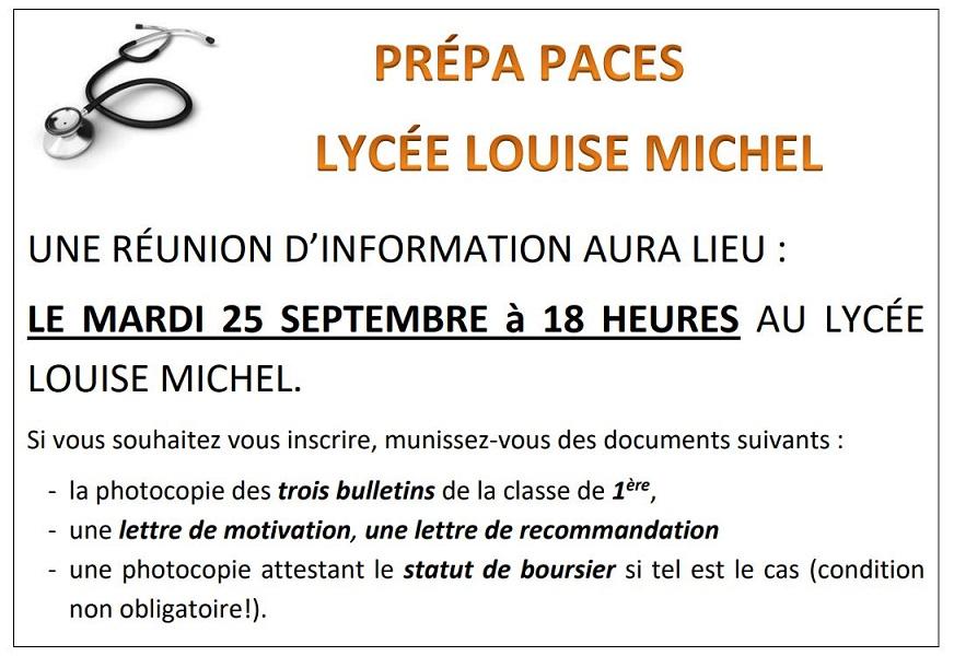 Lycee Louise Michel Reunion D Information Sur La Prepa Paces